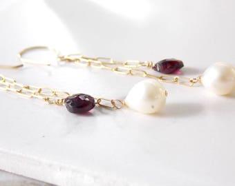 Gold Filled Long Cascading Garnet and Freshwater Pearl Earrings. Long Earrings, Garnet Gemstone
