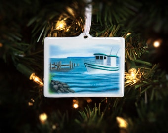Boat Christmas Ornament ~ Porcelain Nautical Gift ~ FREE SHIPPING