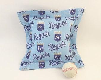 KC Royals Pillow, KC Royals Fabric, Royals baseball, Man Cave Pillow, Kansas City Royals, Sports Pillow, Guy Gift, Man Gift, Blue Pillow