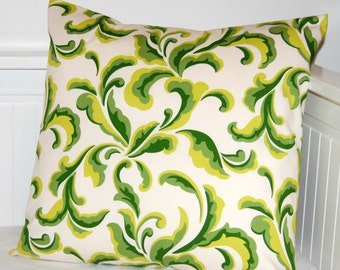 REDUCED cushion cover lime, green leaves, 18 inch decorative pillow cover