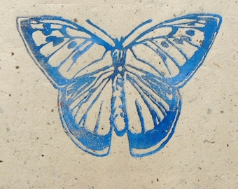 Large Blue Butterfly Lino cut print