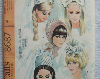 vintage McCalls 8687 BRIDAL CAPS and VEILS sewing pattern