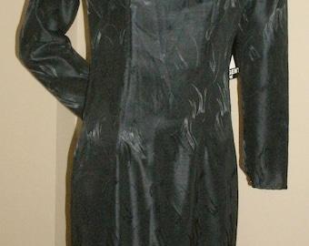 80s vintage Argenti black steampunk shiny drop waist ruffle hem mid length goth emo dress 6 NWT