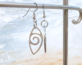 Leaf Wave Earrings by Marsh Scott, stainless steel