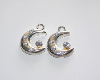 2 Silver Tone Moon Charms Pendant Jewelry