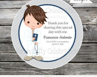 Boy First Communion stickers, Confirmation, Religious, Set of 12 Personalized Favor Tags, Stickers, Party Favors, mi primera comunion