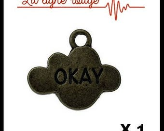 "Pendant cloud Bronze Antique engraved ""OKAY"" 16 x 14mm"