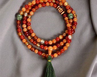 Red Aventurine and Carnelian Mala Beads, Red Agate, Tibetan Agate, Serpentine - Yoga Prayer Beads - Buddhist Malas
