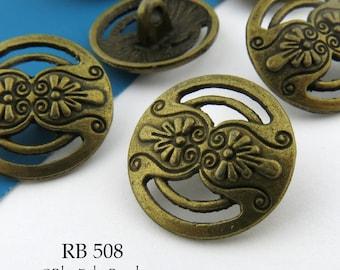 17mm Open Work Antique Brass Floral Button, Antique Bronze (RB 508) 6 pcs BlueEchoBeads