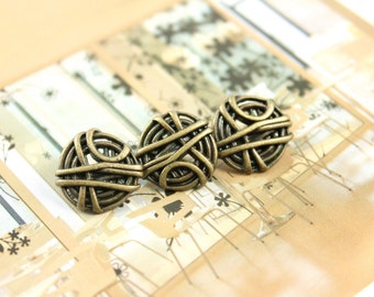 Metal Buttons - Bunch of Rope Metal Buttons , Antique Brass Color , Shank , 0.71 inch , 10 pcs