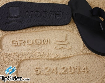 Custom Groom & Bride Flip Flops - Personalized Sand Imprint Sandals for Wedding, Bridal, Honeymoon *check size chart, see 3rd product photo*