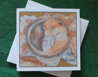 Animal Dormouse Cute New Baby Greeting Card / Wildlife Greeting Card / Dormouse Card / Artistic Watercolour Prints Greeting Cards / by Clare