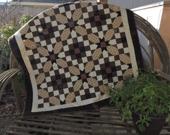 "Beautiful Lap Sized ""Neutral"" Quilt in Brown, Cream, Tan and Burgundy   47"" x 47"""