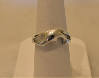 Vintage Sterling Silver Dolphin Ring, size 7
