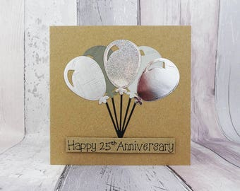 25th anniversary card, Silver wedding anniversary card, Handmade anniversary card for a couple, Balloons anniversary card, Card for couple