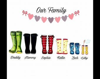 Personalised Wellies Picture Framed