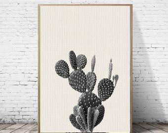 Blanc, noir et impression de cactus Wall Art, Decor de sud ouest, moderne minimaliste contemporain grandes affiches,téléchargement numérique