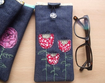 Padded Glasses Case made using Freehand Machine Embroidery on Denim