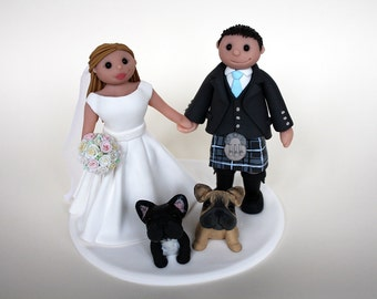 Custom Wedding Cake Topper // with dogs