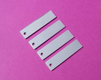 "10 - 5052 Aluminum 3/8"" x 1 3/4"" Rectangle Blanks - ONE HOLE - Polished Metal Stamping Blanks - 14G 5052 Aluminum"
