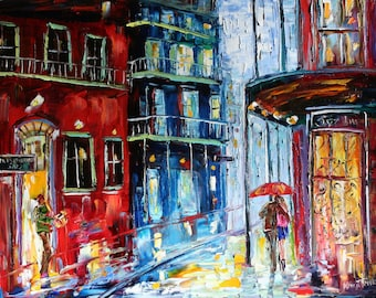 """New Orleans French Quarter Rain Print on canvas Wall art 24"""" x 30"""" made from image of past oil painting by Karen Tarlton fine art"""