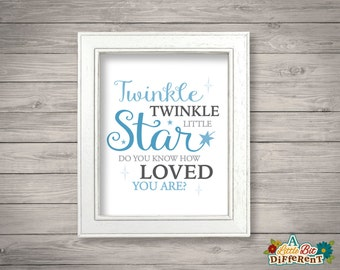 Twinkle twinkle little star do you know how loved you are? - Blue - 8 x 10 printable (INSTANT DOWNLOAD) Boys Room Nursery Wall Art - Digital
