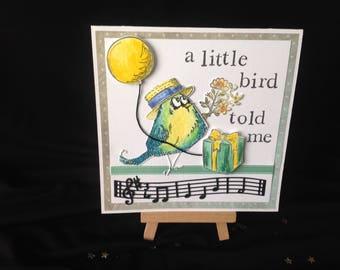 Birdsong Birthday Card - a little bird told me