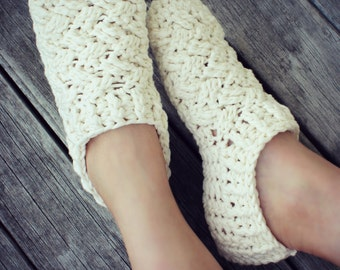 Download Now - CROCHET PATTERN Celtic Cables Slippers - All Ladies Sizes - Pattern PDF