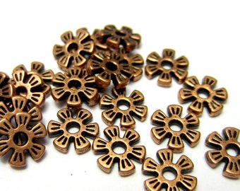 48 Copper beads flower spacers  lead nickel free 8mm x 2mm jewelry making supply HP742(W2)