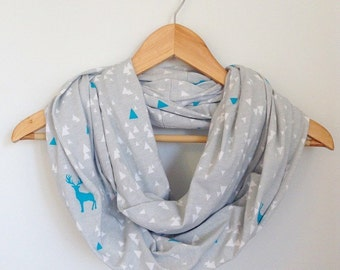 Nursing Cover, Gray with Blue Stag Nursing Scarf, Breastfeeding Cover, Breastfeeding Scarf, Infinity Scarf, Baby Shower Gift