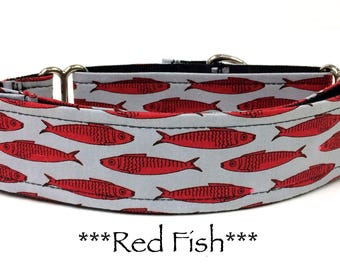 Martingale Dog Collar, Fish Dog Collar, Fish Buckle Dog Collar, Martingale Buckle Dog Collar, Fish Martingale, Fish Dog Collar, Red Fish