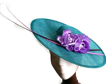 Turquoise lampshade hat, turquoise sunhat, turquoise and purple hat, purple sunhat, turquoise derby hat, turquoise races hat, wedding hat