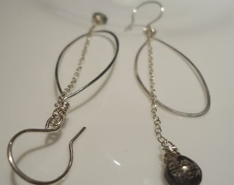 Silver Oval Hoop Earrings with Tourmalated Quartz Gemstones