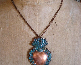 LG. SACRED HEART Intricate Copper Milagro Necklace- Perfect gift for the one you love- 2.75""