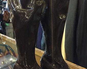 Chocolate Brown Deadstock 1970s vinyl go-go boots size 4 1/2---5 women's/girl's