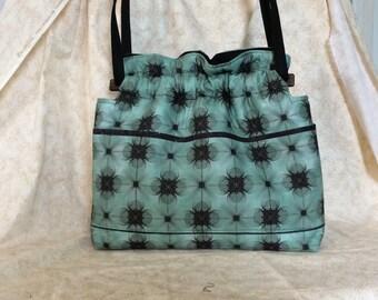 Green black swirl reversible  fabric handbag Purse cotton quilted