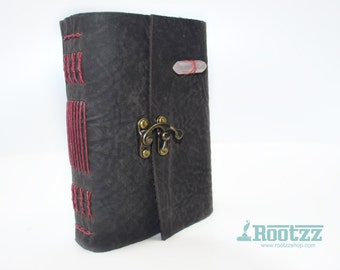 Leather journal with a gemstone Rose quartz - traveler's notebook - journal - gemstone