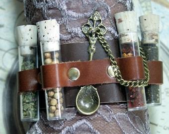 Apothecary steampunk cuff, steampunk cuff, leather bracer, medicinal cuff bracelet, leather cuff