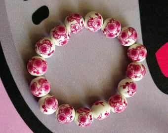 Deep Pink Asian Floral Porcelain Bead Stretch Bracelet