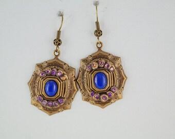 vintage inspired earrings purple stone earrings handmade earrings bright earrings victorian earrings victorian inspired bright earrings