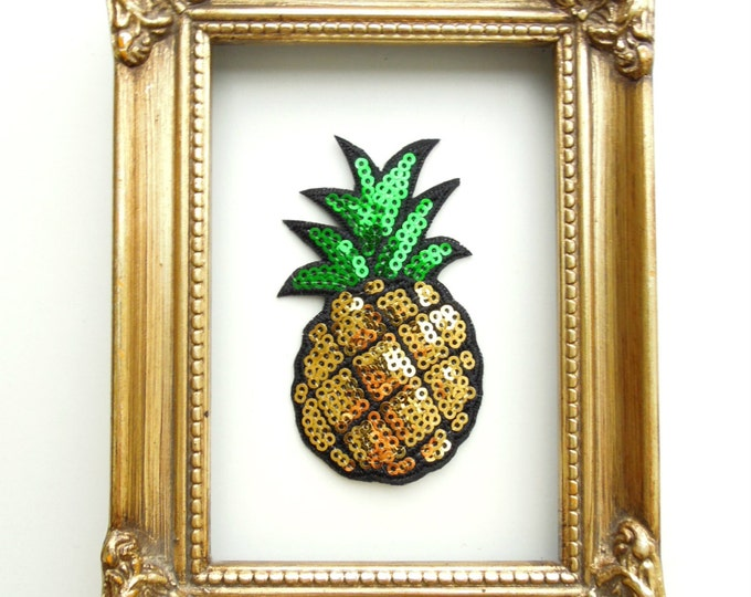Pinapple iron-on patch - Sequin pinapple patch - Iron on patch - Sew on applique -  Iron on applique - Pineapple patch Patches for clothes