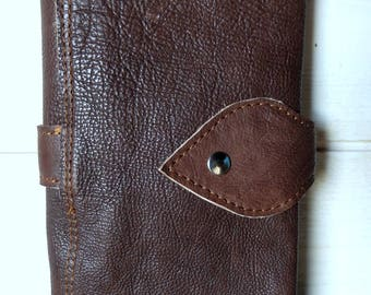 Companion leather large wallet, brown beige leather