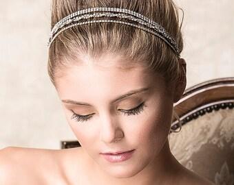 Wedding Crystal Headband, Bridal Rhinestone Headband, SWAROVSKI Wedding Hair Accessories, Vintage Style Art Deco Grecian Head Wrap (SIEVA)