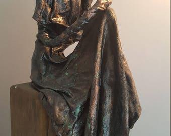 Rose -  Figurative Sculpture seated on wood