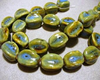 Porcelain Beads Aqua & Honey Fluted Oval  16x14MM