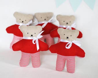 Red stuffed teddy bear - return gift, soft fabric bear toy, mini primitive teddy bear, pocket animal toy, gifts to girls birthday guests