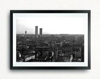 Poster of Milan, Isozaki Tower and Hadid Tower in black and white.