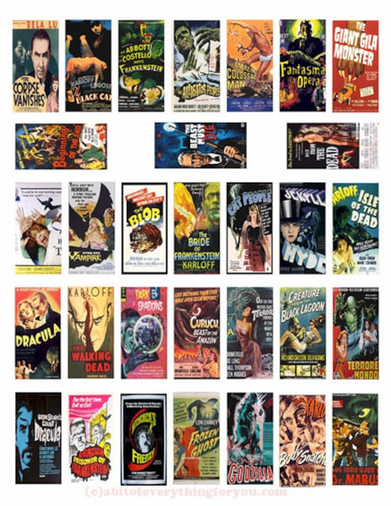 "monster horror movie posters domino collage sheet domino clipart digital download  1"" x 2"" inch domino graphics vintage images printables"