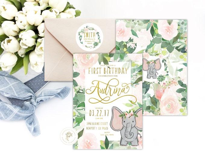 Elephant invitation | Elephant Birthday Invitation | Birthday invitation |  Succulent Invitation | Easter Invite | Elephant theme