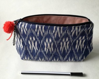 zippered pouch pencil case toiletry bag cosmetic bag makeup bag pen pouch travel purse blue pink pompom ikat